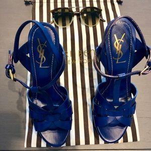 New Never Worn YSL Cobalt Tribute Platform heels